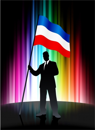 Serbia and Montenegro Flag with Businessman on Abstract Spectrum Background