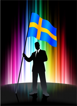 Sweden Flag with Businessman on Abstract Spectrum Background