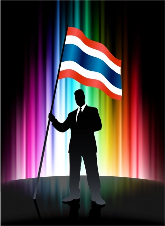 Thailand Flag with Businessman on Abstract Spectrum Background 일러스트