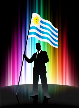 uruguay flag: Uruguay Flag with Businessman on Abstract Spectrum Background