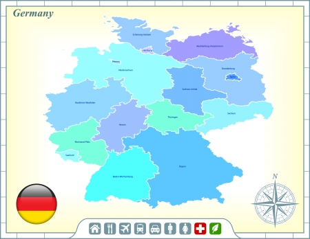 Germany Map with Flag Buttons and Assistance & Activates Icons Vector