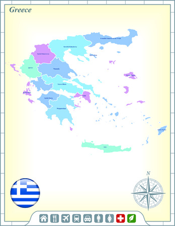 Greece Map with Flag Buttons and Assistance & Activates Icons Vector