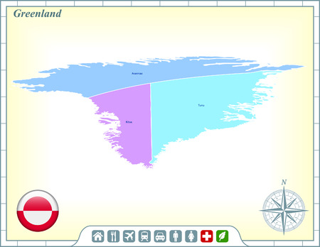 Greenland Map with Flag Buttons and Assistance & Activates Icons Ilustracja