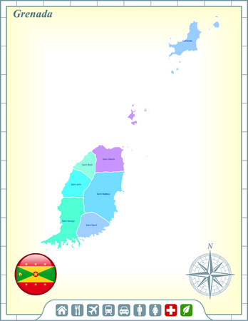 Grenada Map with Flag Buttons and Assistance & Activates Icons Vector