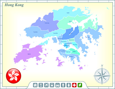 Hong Kong Map with Flag Buttons and Assistance & Activates Icons Vector