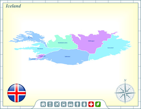 Iceland Map with Flag Buttons and Assistance & Activates Icons