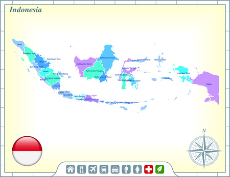 Indonesia Map with Flag Buttons and Assistance & Activates Icons
