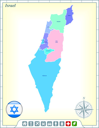 jewish home: Israel Map with Flag Buttons and Assistance & Activates Icons Illustration