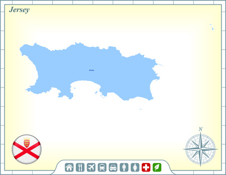 jersey: Jersey Map with Flag Buttons and Assistance & Activates Icons Illustration