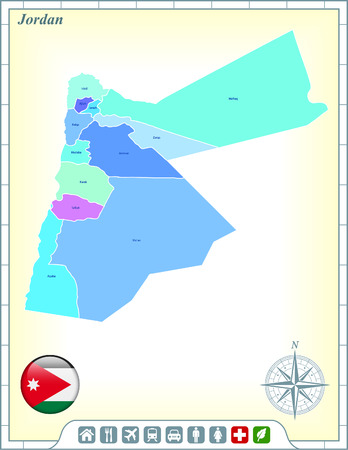 Map with Flag Buttons and Assistance & Activates Icons Çizim