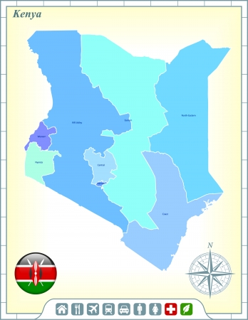 Kenya Map with Flag Buttons and Assistance & Activates Icons Vector