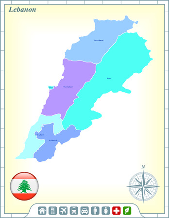 Lebanon Map with Flag Buttons and Assistance & Activates Icons Vector