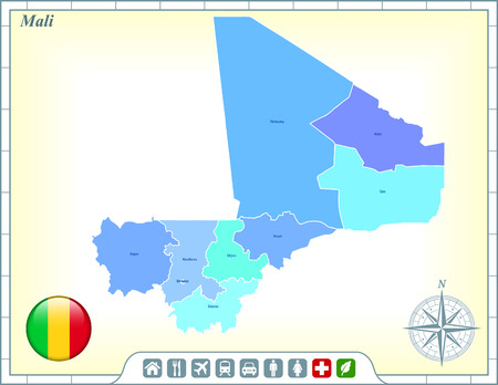 Mali Map with Flag Buttons and Assistance & Activates Icon Vector