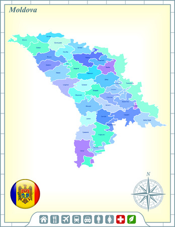 Moldova Map with Flag Buttons and Assistance & Activates Icons