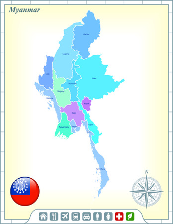Myanmar Map with Flag Buttons and Assistance & Activates Icons Vector