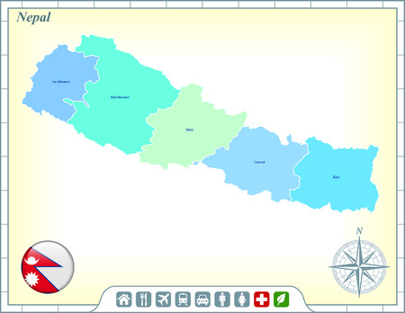 Nepal Map with Flag Buttons and Assistance & Activates Icons Фото со стока - 22420710