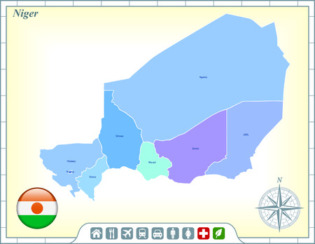 niger: Niger Map with Flag Buttons and Assistance & Activates Icons