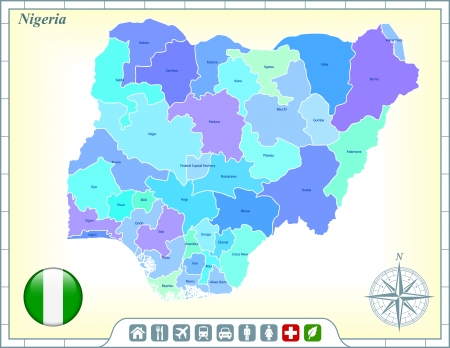 Nigeria Map with Flag Buttons and Assistance & Activates Icons