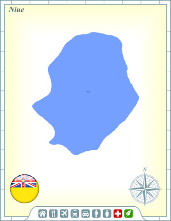 niue: Niue Map with Flag Buttons and Assistance & Activates Icons Illustration