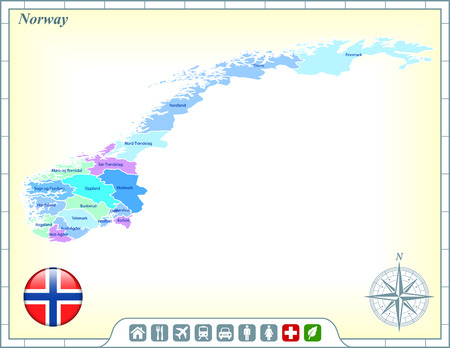 norway flag: Norway Map with Flag Buttons and Assistance & Activates Icons