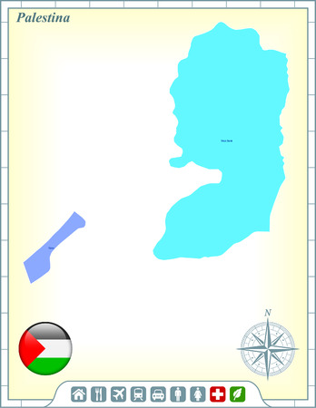 Palestina Map with Flag Buttons and Assistance & Activates Icons