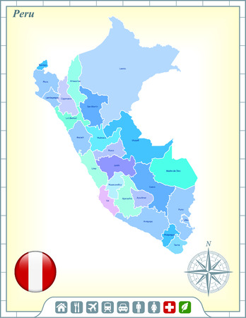 peru map: Peru Map with Flag Buttons and Assistance & Activates Icons Illustration