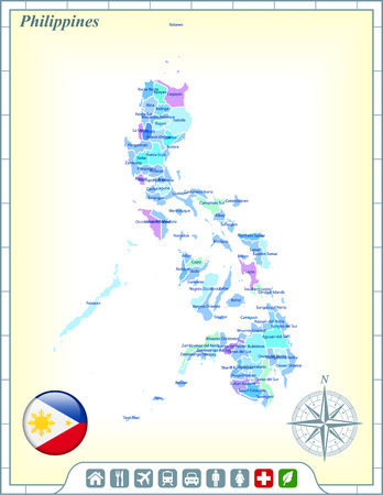 philippines  map: Philippines Map with Flag Buttons and Assistance & Activates Icons Illustration