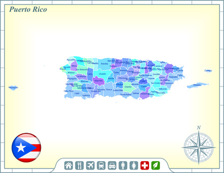 Puerto Rico Map with Flag Buttons and Assistance & Activates Icons Vector