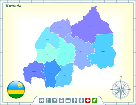 Rwanda Map with Flag Buttons and Assistance & Activates Icons Vector