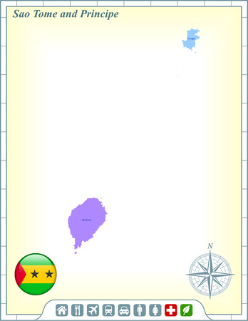 Sao Tome and Principe Map with Flag Buttons and Assistance & Activates Icons Vector