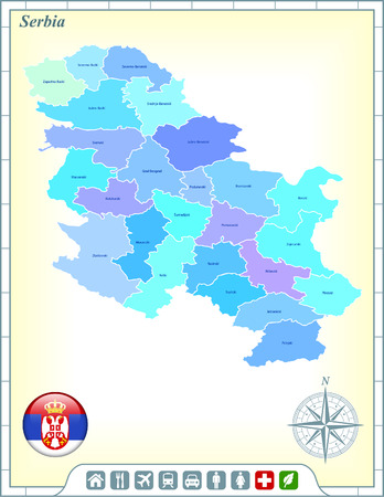 Serbia Map with Flag Buttons and Assistance & Activates Icons Vector