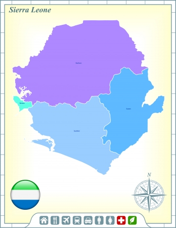 sierra: Sierra Leone Map with Flag Buttons and Assistance & Activates Icons Illustration