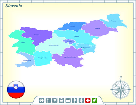 Slovenia Map with Flag Buttons and Assistance & Activates Icons Vector