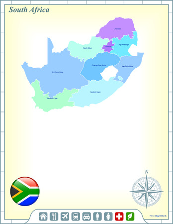 South Africa Map with Flag Buttons and Assistance & Activates Icons