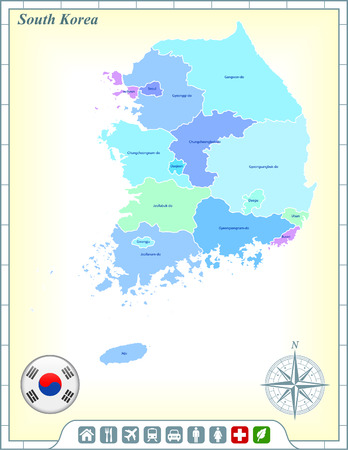 South Korea Map with Flag Buttons and Assistance & Activates Icons