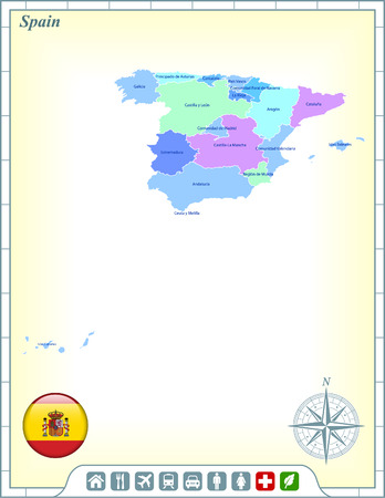 Spain Map with Flag Buttons and Assistance & Activates Icons Vector