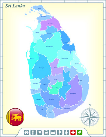 Sri Lanka Map with Flag Buttons and Assistance & Activates Icons Illustration