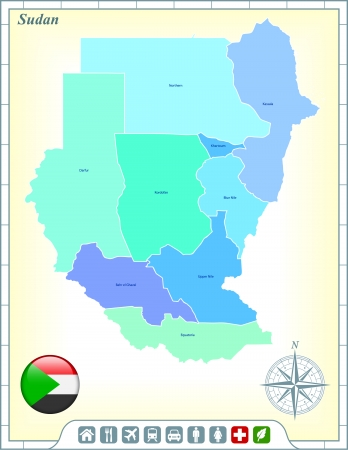 Sudan Map with Flag Buttons and Assistance & Activates Icons Vector