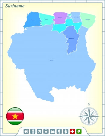 suriname: Suriname Map with Flag Buttons and Assistance & Activates Icons Illustration