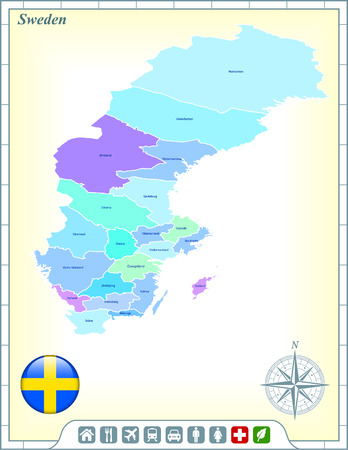 Sweden Map with Flag Buttons and Assistance & Activates Icons