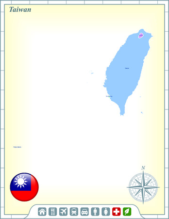 Taiwan Map with Flag Buttons and Assistance & Activates Icons