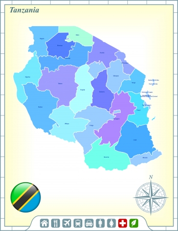 Tanzania Map with Flag Buttons and Assistance & Activates Icons