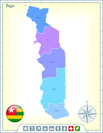 Togo Map with Flag Buttons and Assistance & Activates Icons Vector