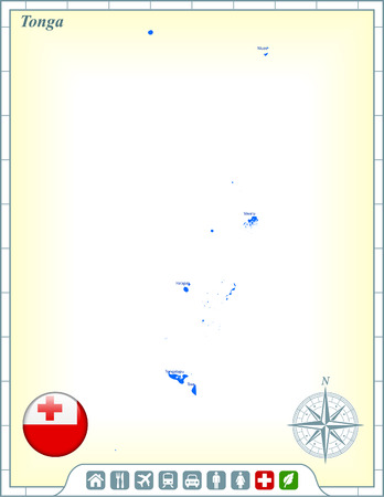 tonga: Tonga Map with Flag Buttons and Assistance & Activates Icons