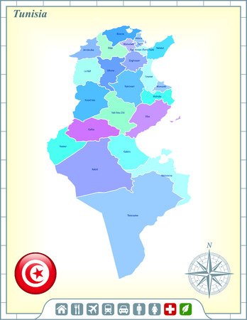 Tunisia Map with Flag Buttons and Assistance & Activates Icons