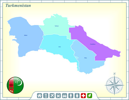 turkmenistan: Turkmenistan Map with Flag Buttons and Assistance & Activates Icons