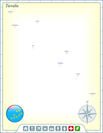 tuvalu: Tuvalu Map with Flag Buttons and Assistance & Activates Icons