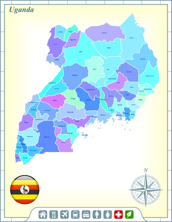 uganda: Uganda Map with Flag Buttons and Assistance & Activates Icon Illustration