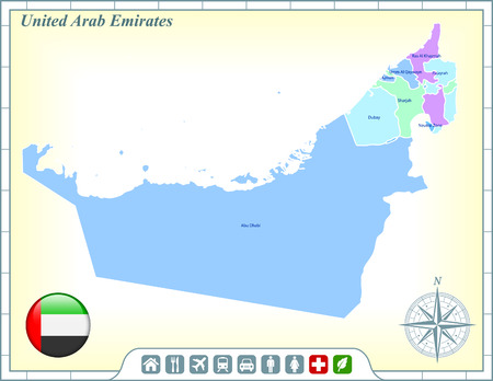 United Arab Emirates Map with Flag Buttons and Assistance & Activates Icons Ilustração