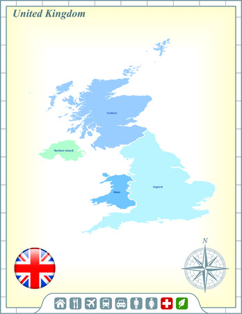 United Kingdom Map with Flag Buttons and Assistance & Activates Icons Stock Vector - 22421071